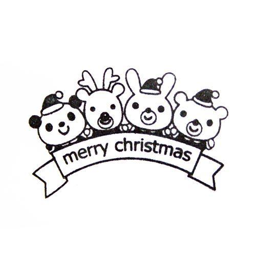 cute Christmas stamp panda reindeer bunny bear