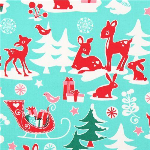 Michael Miller fabric aqua Yule Critters deer Christmas