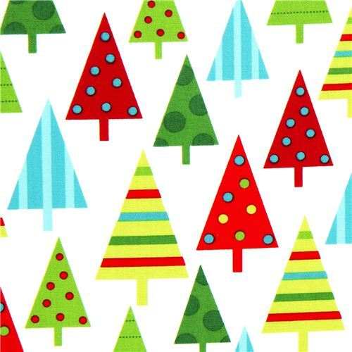 white Robert Kaufman Christmas fabric with fir tree