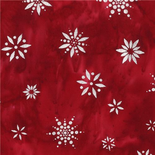 Batik snowflake fabric by Robert Kaufman in red