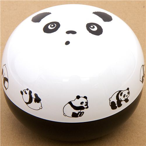 big round panda bear face Bento Box lacquer lunch box