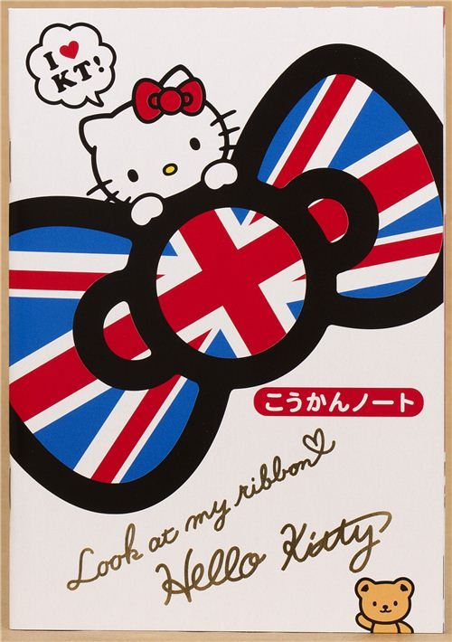 Hello Kitty with England bow notepad for friends diary