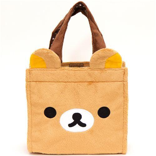 cute Rilakkuma bear face plush handbag