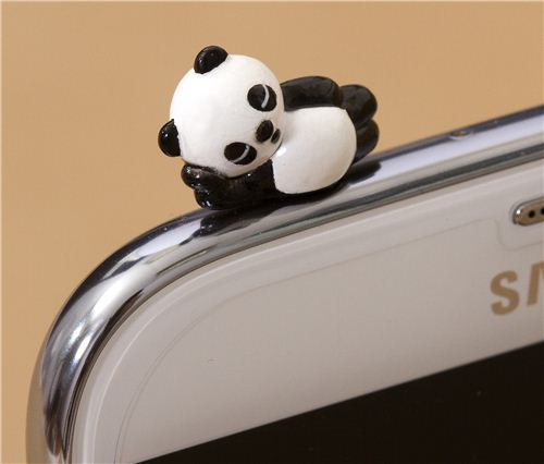 cute panda bear mobile phone plugy earphone jack accessory