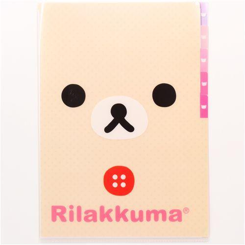 5-pocket A4 plastic file folder white Korilakkuma bear