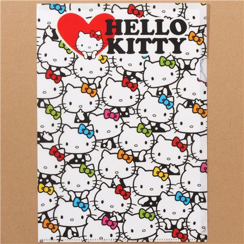 white Hello Kitty A4 plastic file folder colourful ribbons