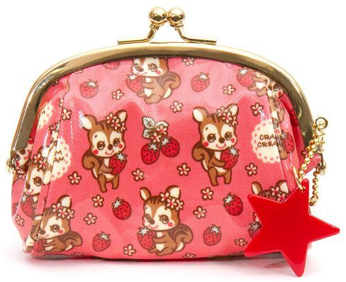 pink squirrel purse wallet make up pouch