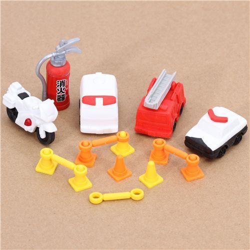 Iwako erasers Emergency Vehicle 6 pieces set
