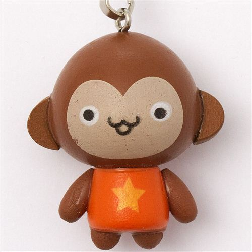 brown monkey wooden phone strap