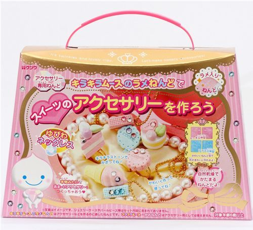kawaii glitter mousse jewelry clay making kit rings