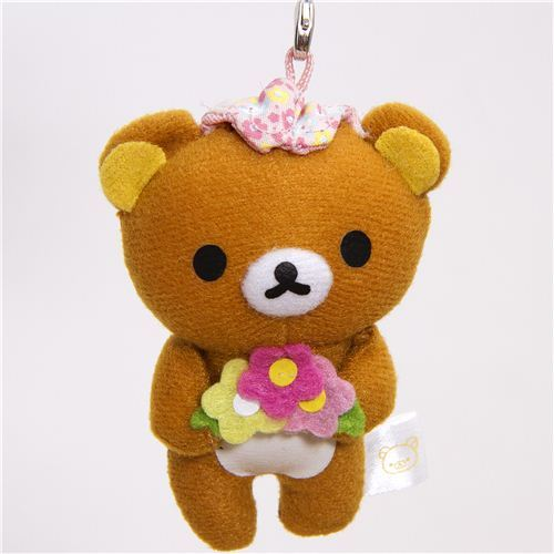 Rilakkuma plush charm brown bear with flower San-X