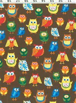 Woodland Friends owls fabric