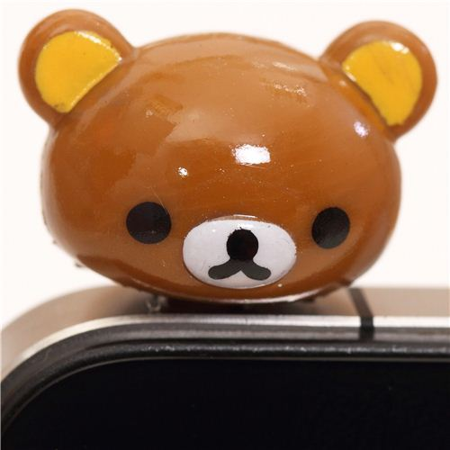 Rilakkuma brown bear head mobile phone plug earphone jack