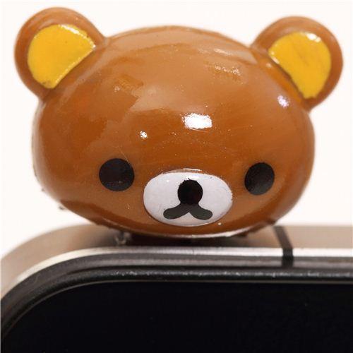 Rilakkuma brown bear head mobile phone plug earphone jack