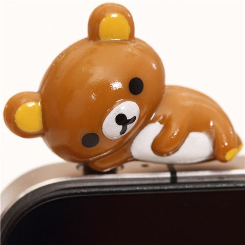 Rilakkuma brown laying bear mobile phone plug earphone jack