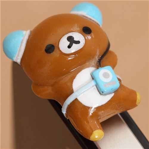 Rilakkuma music bear mobile phone plug earphone jack