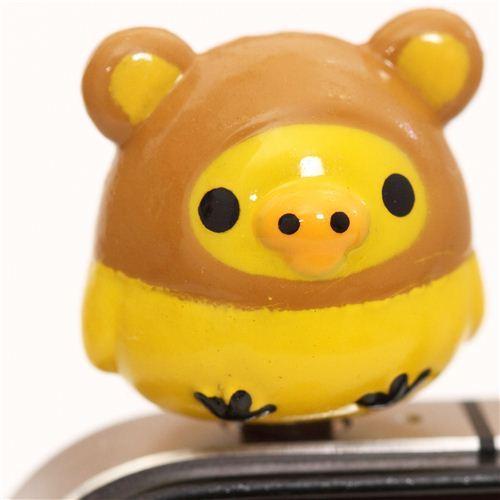 Rilakkuma yellow chick bear mobile phone plug earphone jack