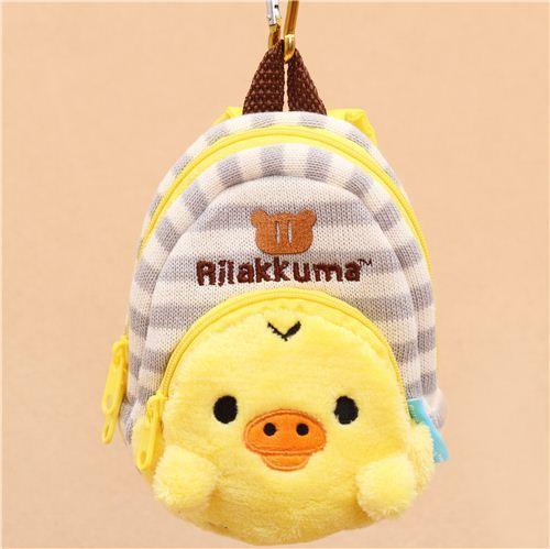 big grey white striped Rilakkuma yellow chick backpack charm