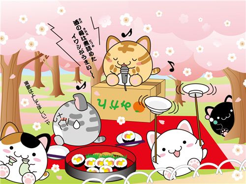 spring picnic wallpaper with the funny maruneko cats
