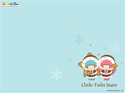 Little Twin Stars winter wallpaper found on kawaiiwallpapers.com