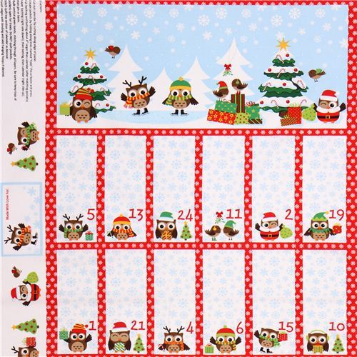 owl Christmas fabric advent calendar Holiday Hoot
