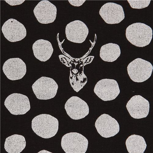 black echino canvas fabric stag with silver metallic dots Sambar