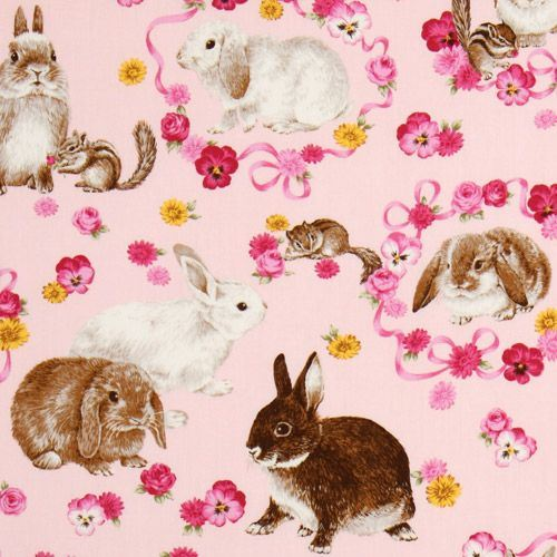cute pink Easter bunny fabric flowers chipmunks