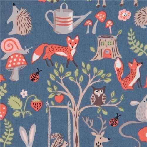 blue with deer hedgehog animal tree poplin organic fabric monaluna USA