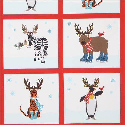 Christmas animal panel fabric by Robert Kaufman