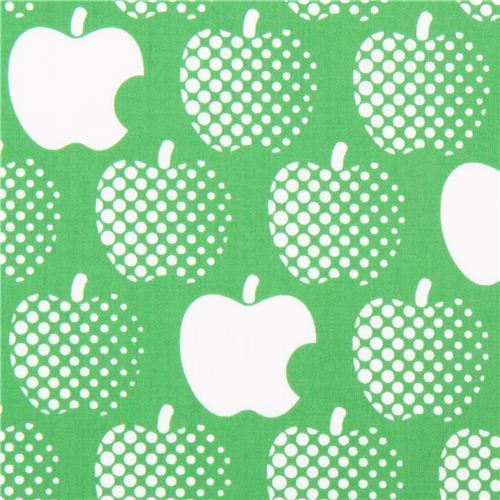lightweight green apple cotton sateen fabric by Kokka