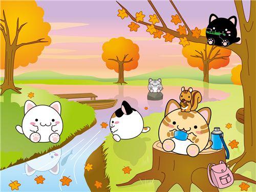 This Maruneko wallpaper shows a lovely scene of a golden autumn day