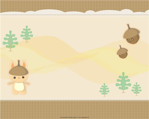 A kawaii Meomi wallpaper with acorns and the forest