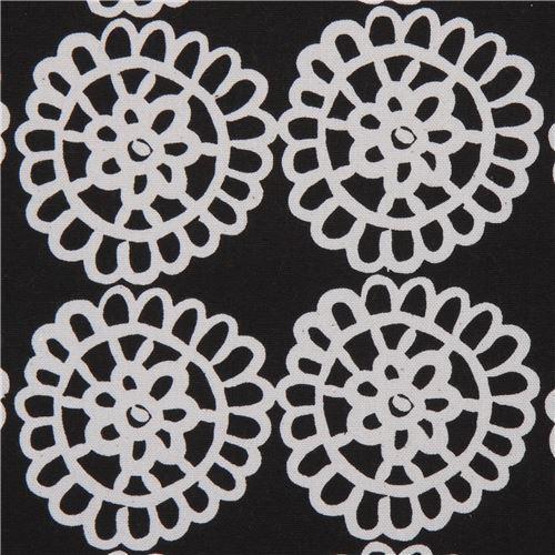 flower canvas fabric in black by Kokka