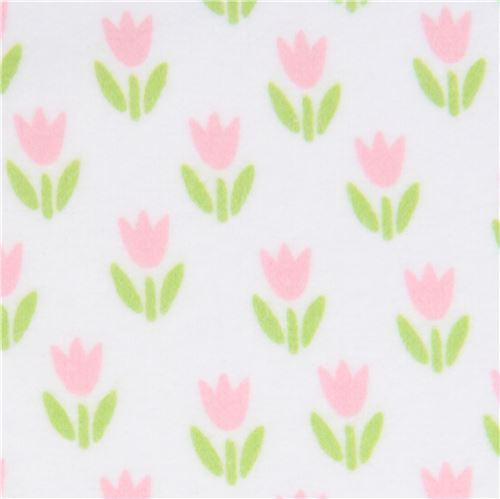 small pink flower flannel fabric Robert Kaufman white Cozy Cotton