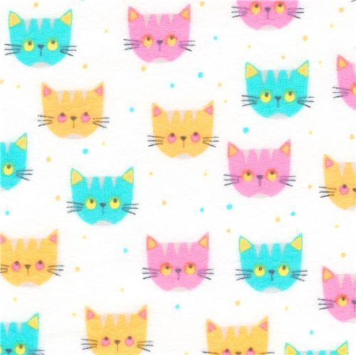 white flannel fabric with cats by Robert Kaufman