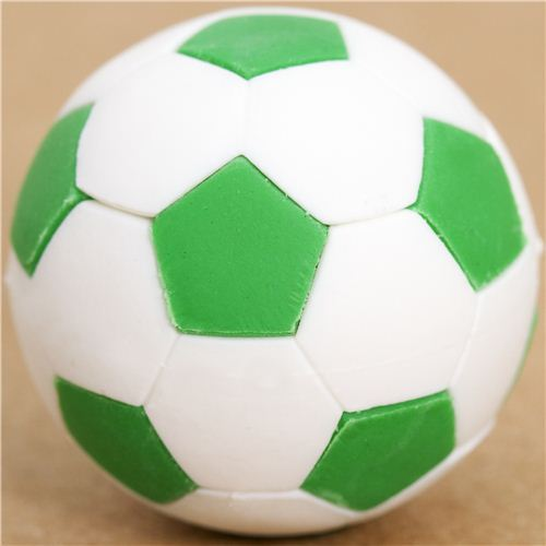 cool green and white soccer ball eraser by Iwako