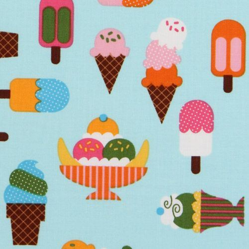 blue fabric ice cream cups Robert Kaufman kawaii