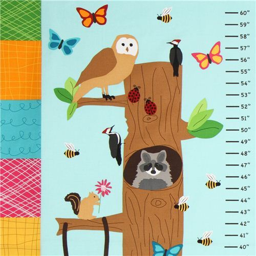 blue forest animal kids growth chart fabric Robert Kaufman