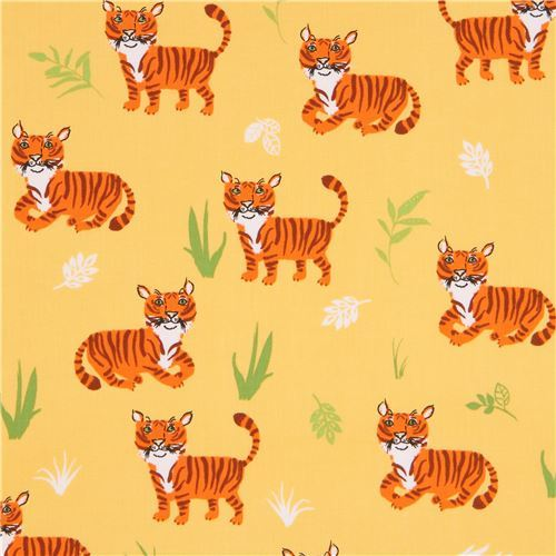 marigold yellow Robert Kaufman fabric cute orange tiger animal