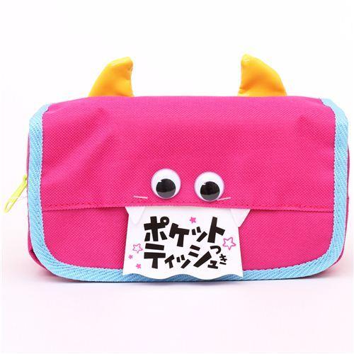 pink monster face devil pouch pencil case