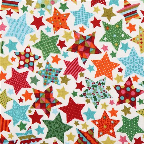white Christmas star fabric Andover from the USA