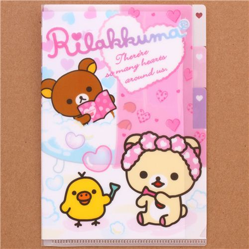 Rilakkuma bear bath tub heart mini plastic folder 3-pocket
