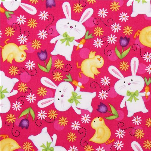 hot pink Easter bunny fabric Just Hatched Quilting Treasures