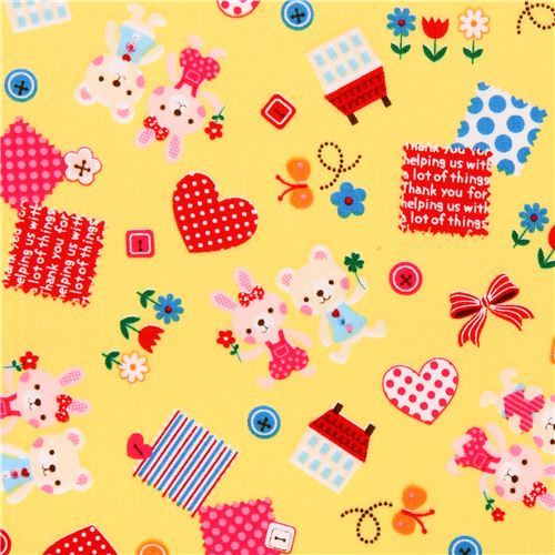 kawaii yellow bunny bear spring Easter flower animal fabric from Japan