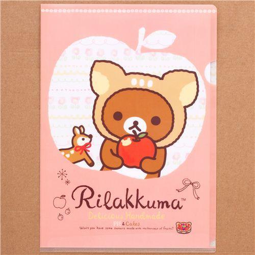 deer Rilakkuma bear apple A4 plastic file folder