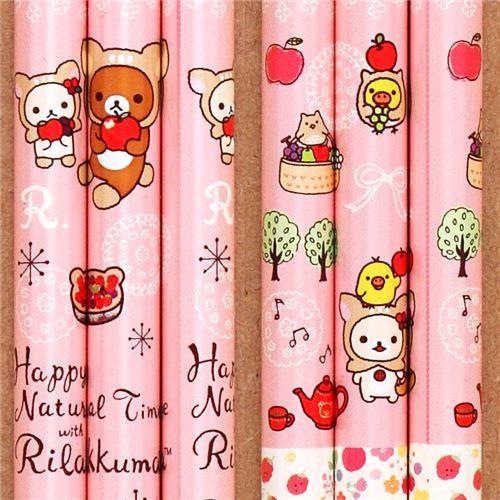 pink deer Rilakkuma bear forest apple pencil Japan