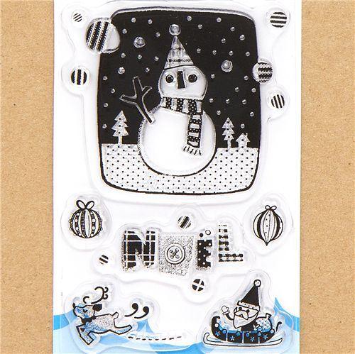 funny Christmas gel stamps snowman reindeer