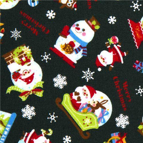 green Christmas fabric Santa Claus animals snowflakes
