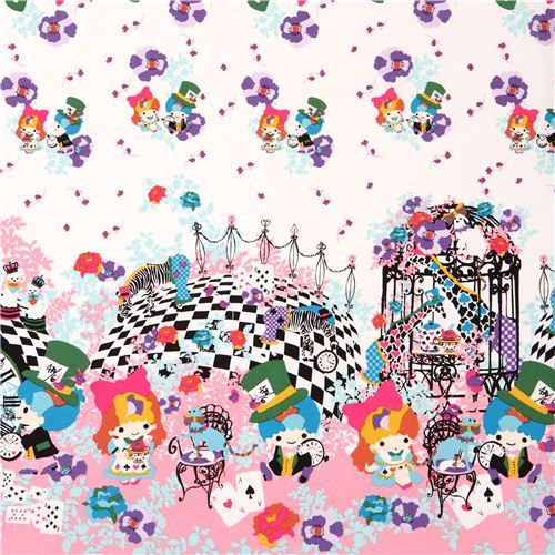 double border Little Twin Stars Alice in Wonderland Sanrio oxford fabric pink