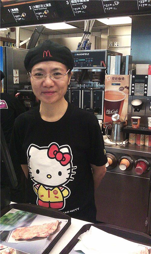 even the staff is wearing Hello Kitty shirts